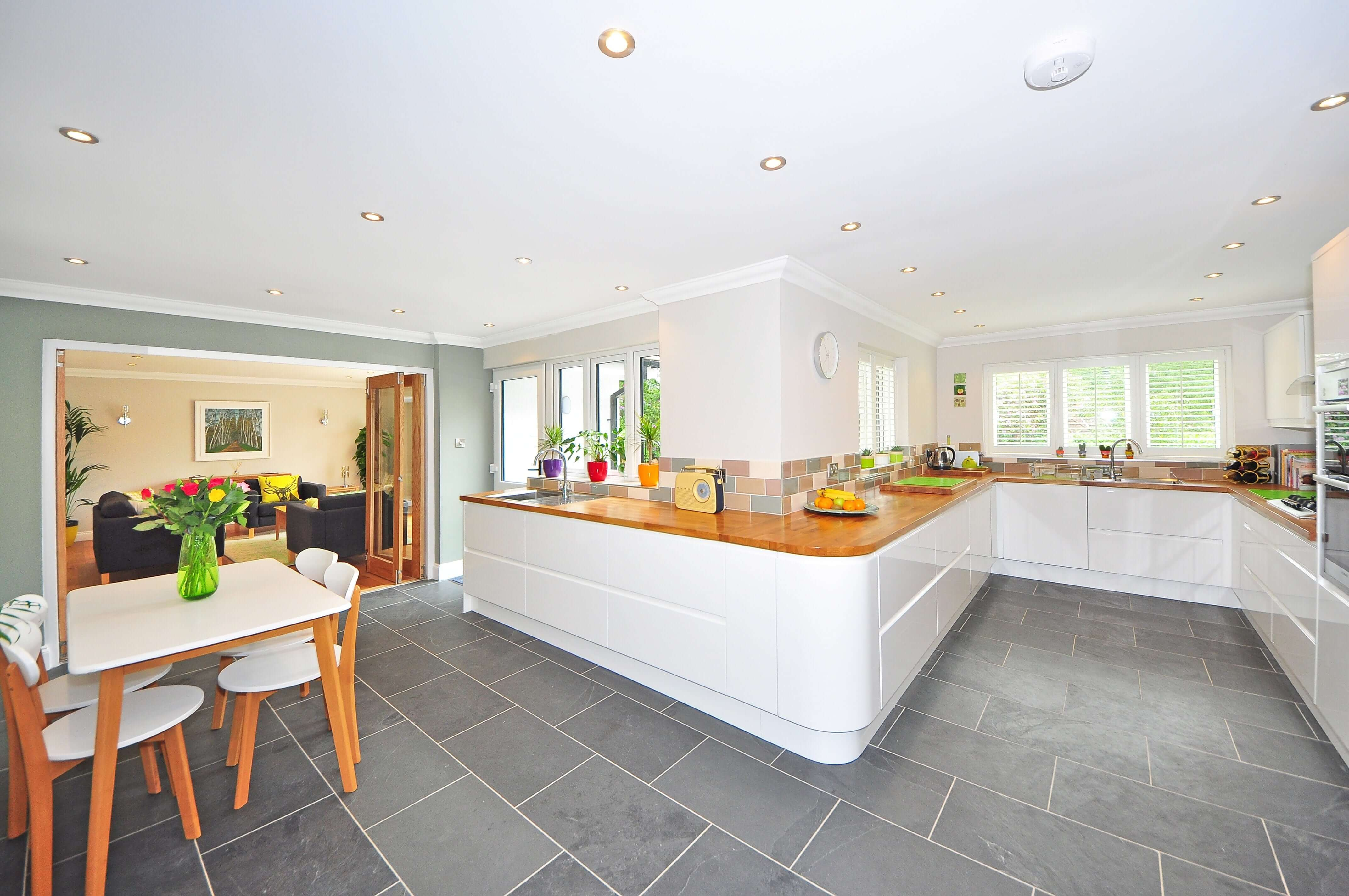 beautiful grey tiles in an updated kitchen