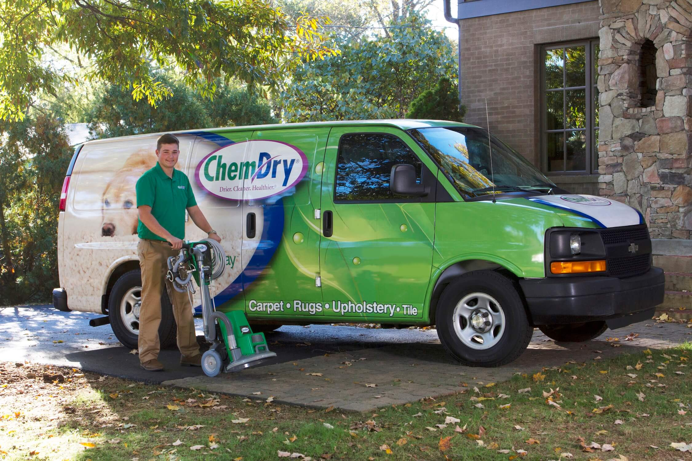 a chem-dry carpet tech preparing to give a healthy home package in Olympia, WA